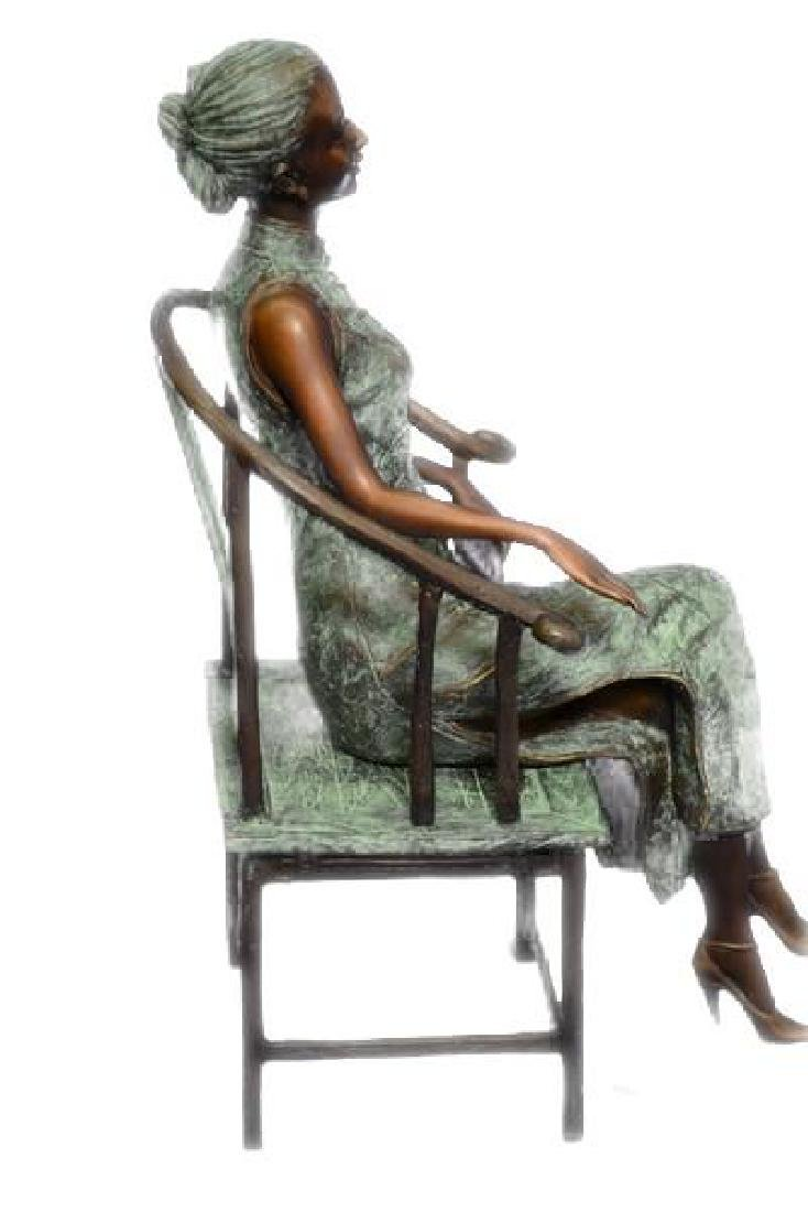 Gorgeous Chinese Woman sitting on a Chair Bronze Statue - 2