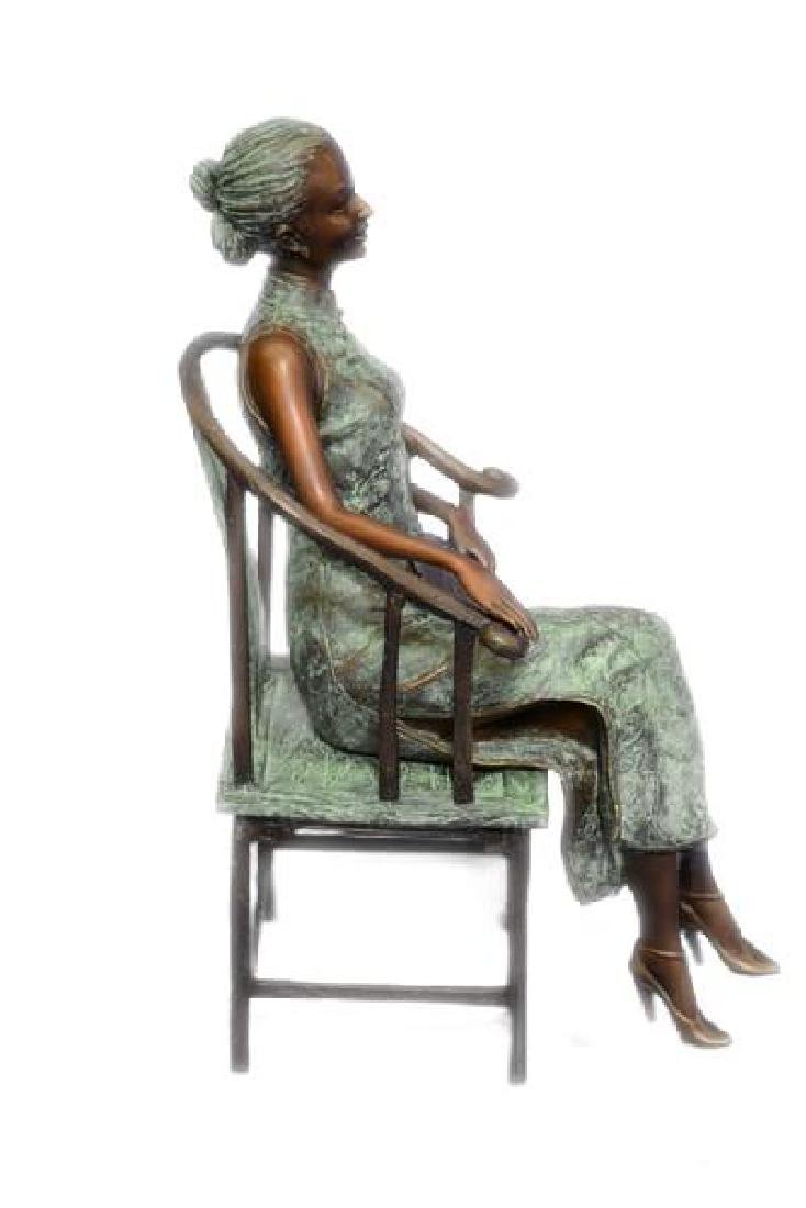 Gorgeous Chinese Woman sitting on a Chair Bronze Statue - 3