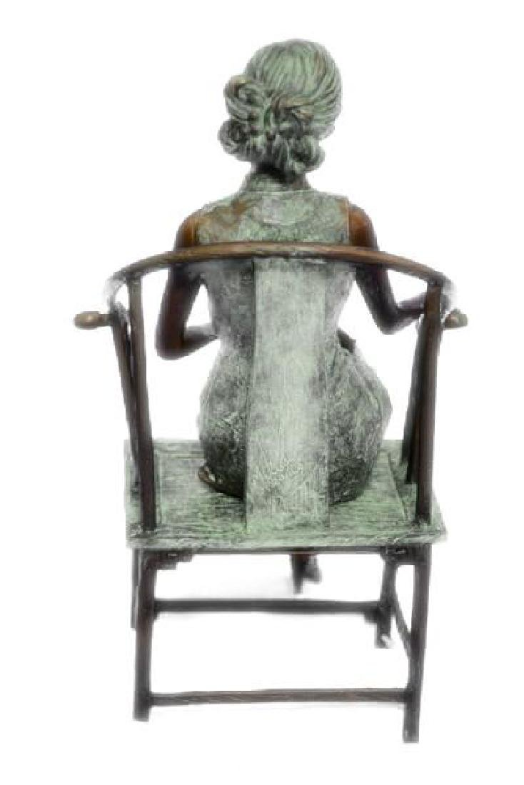 Gorgeous Chinese Woman sitting on a Chair Bronze Statue - 4