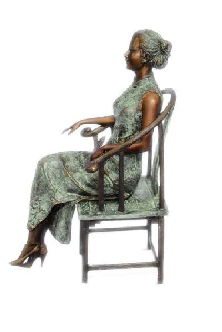 Gorgeous Chinese Woman sitting on a Chair Bronze Statue - 5