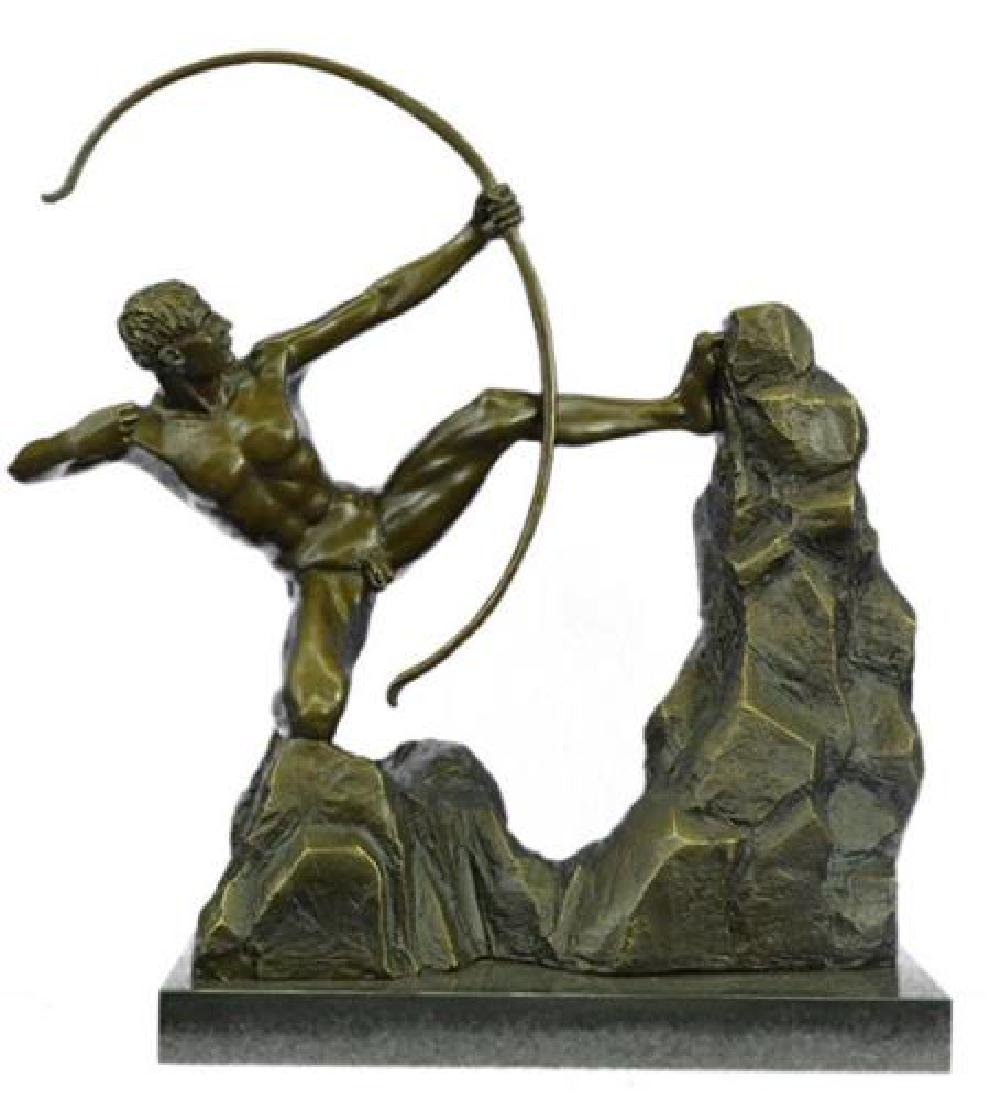 Powerful Man With Bow Bronze Sculpture