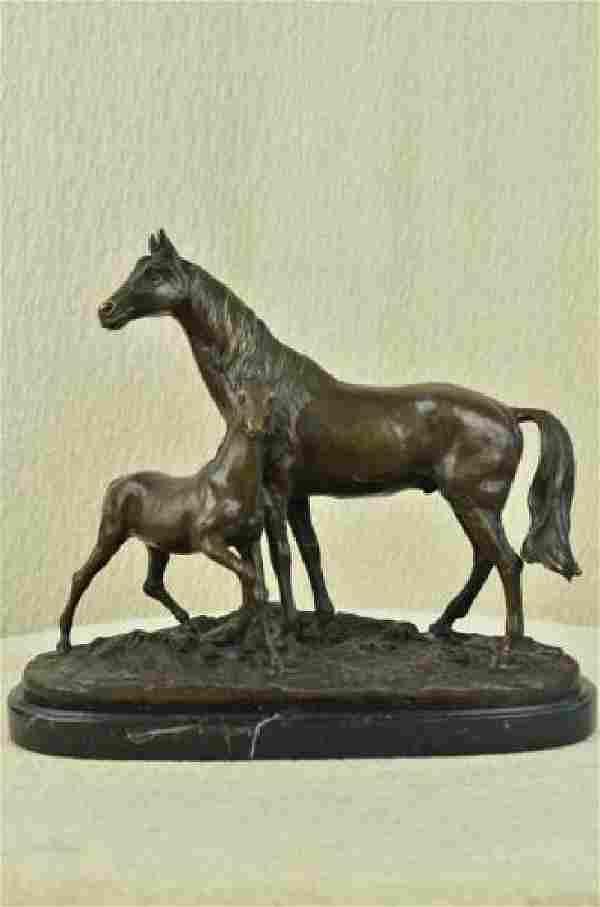Bronze Horse Sculpture on Marble Base Statue