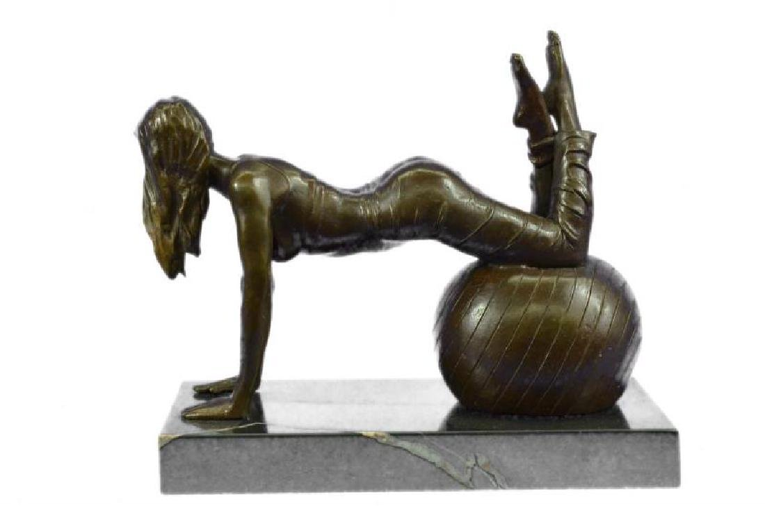 Vitaleh Exotic Stripper Nude Bronze Art Deco Sculpture - 3