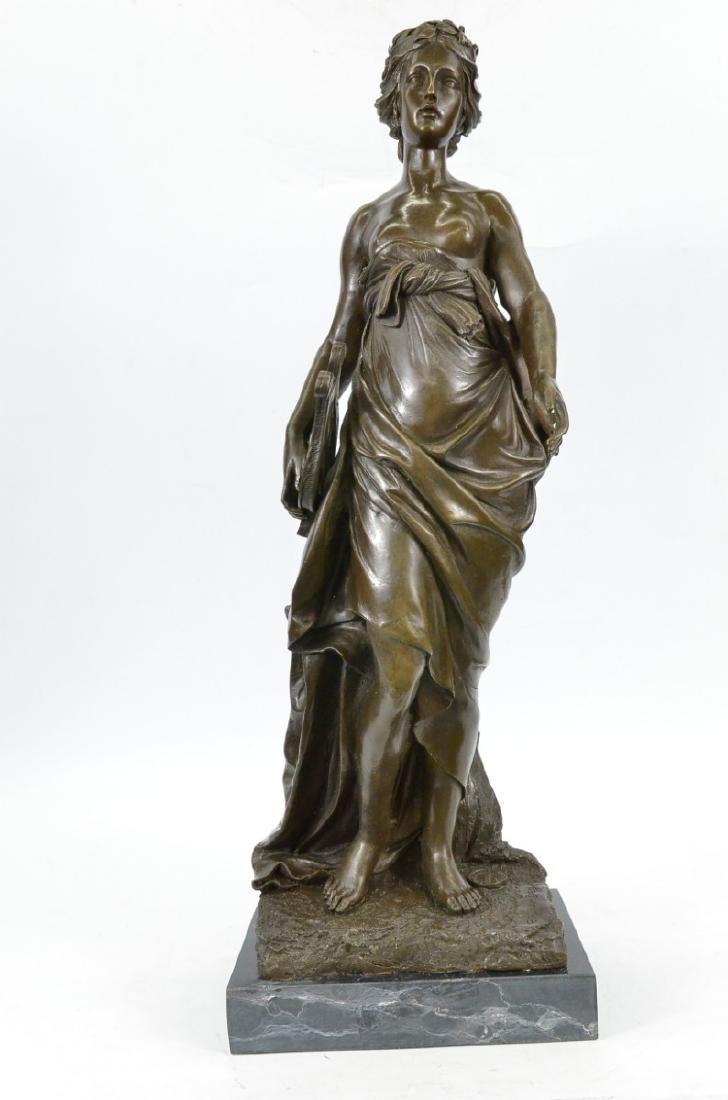 Art Nouveau Elegant Bronze Marble Statue Nude Woman