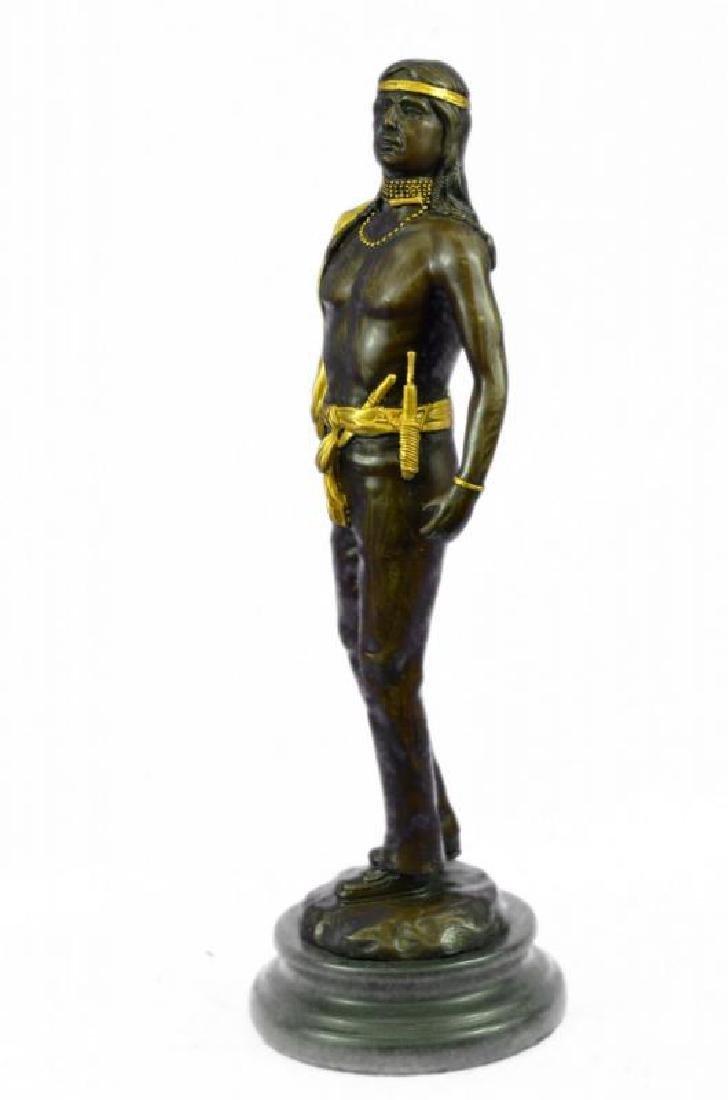 Gold Patina Native Indian Prince Bronze Sculpture