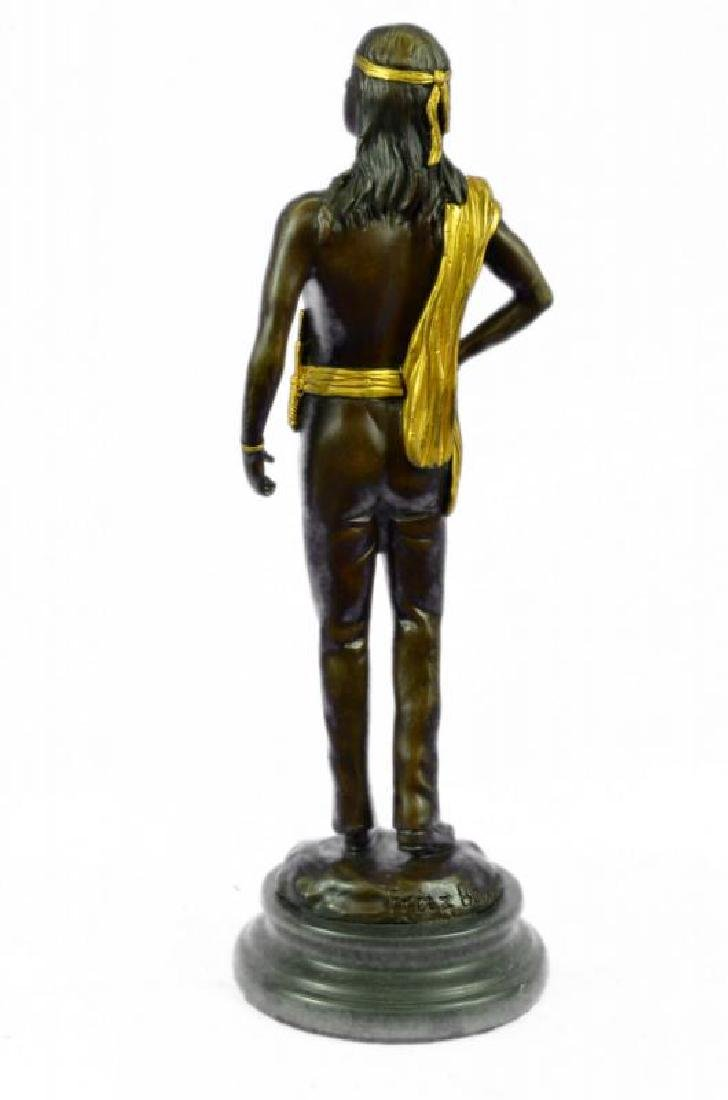 Gold Patina Native Indian Prince Bronze Sculpture - 3