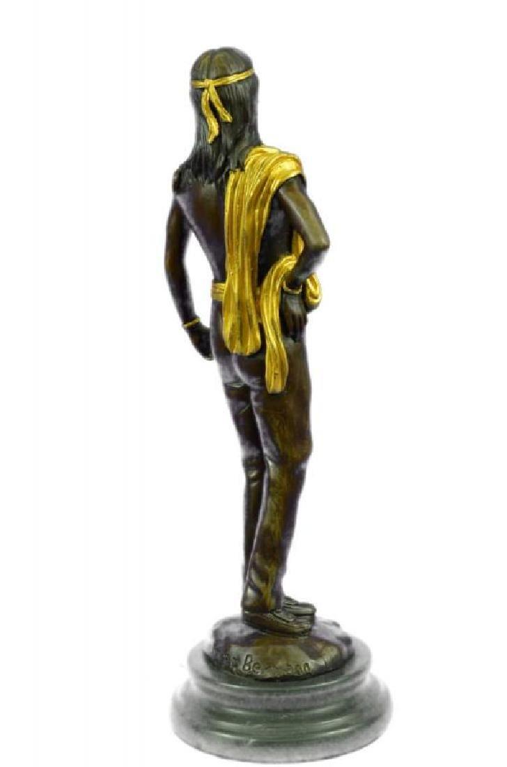 Gold Patina Native Indian Prince Bronze Sculpture - 4