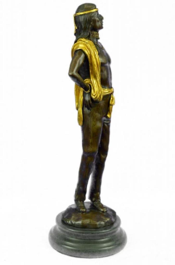 Gold Patina Native Indian Prince Bronze Sculpture - 5