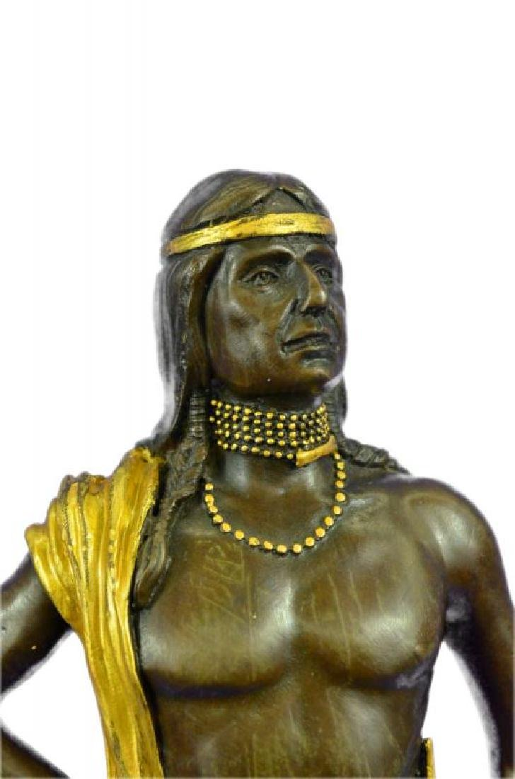 Gold Patina Native Indian Prince Bronze Sculpture - 6