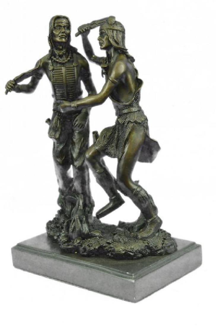 Western Native American Dancers Bronze Sculpture