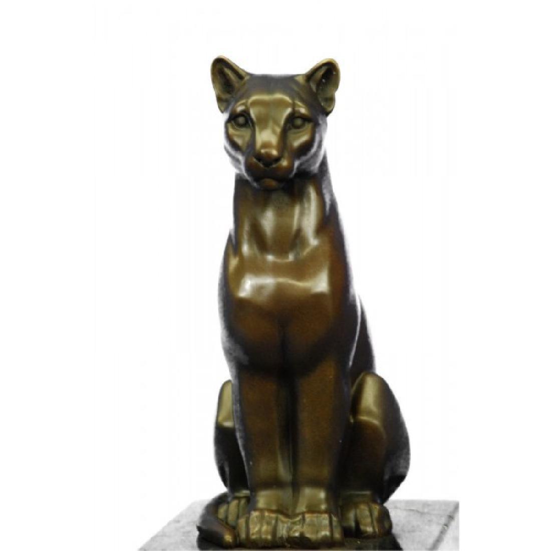 Modern Mountain Lion Bronze Sculpture