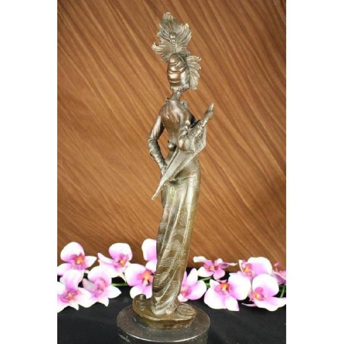 Milo 1920 Classy Woman Bronze Sculpture Art Nouveau - 3