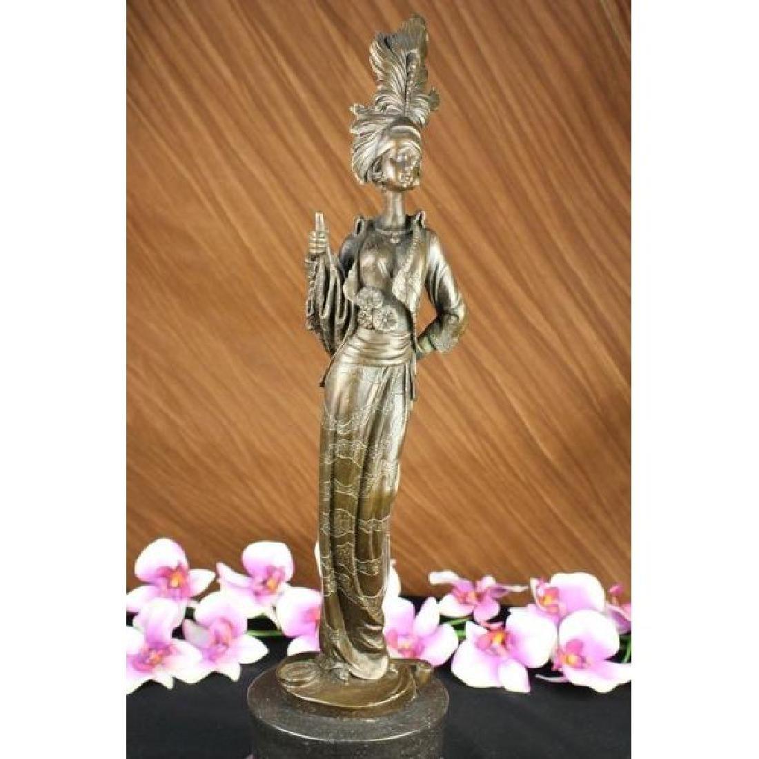 Milo 1920 Classy Woman Bronze Sculpture Art Nouveau - 4