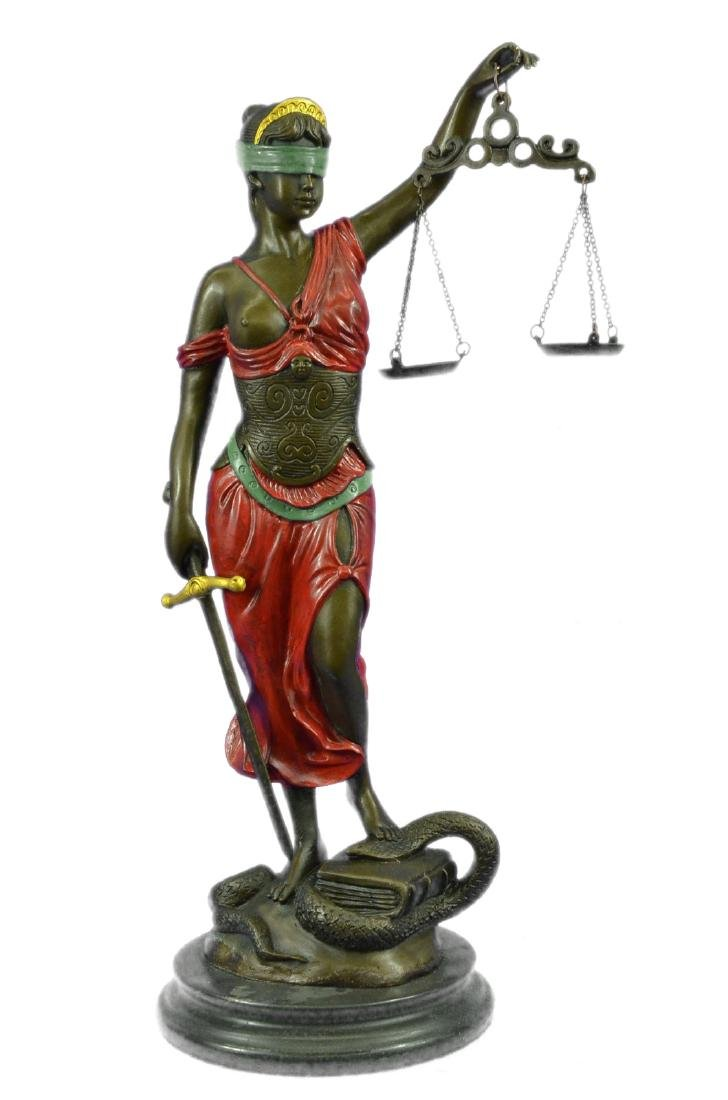 Color Patina Blind Justice Bronze Sculpture