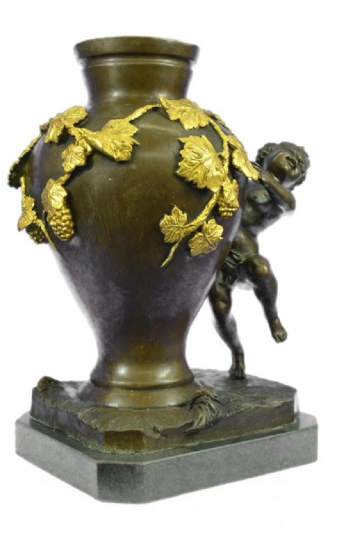 Handcrafted Marble Base Vase Nude Boy Bronze Sculpture