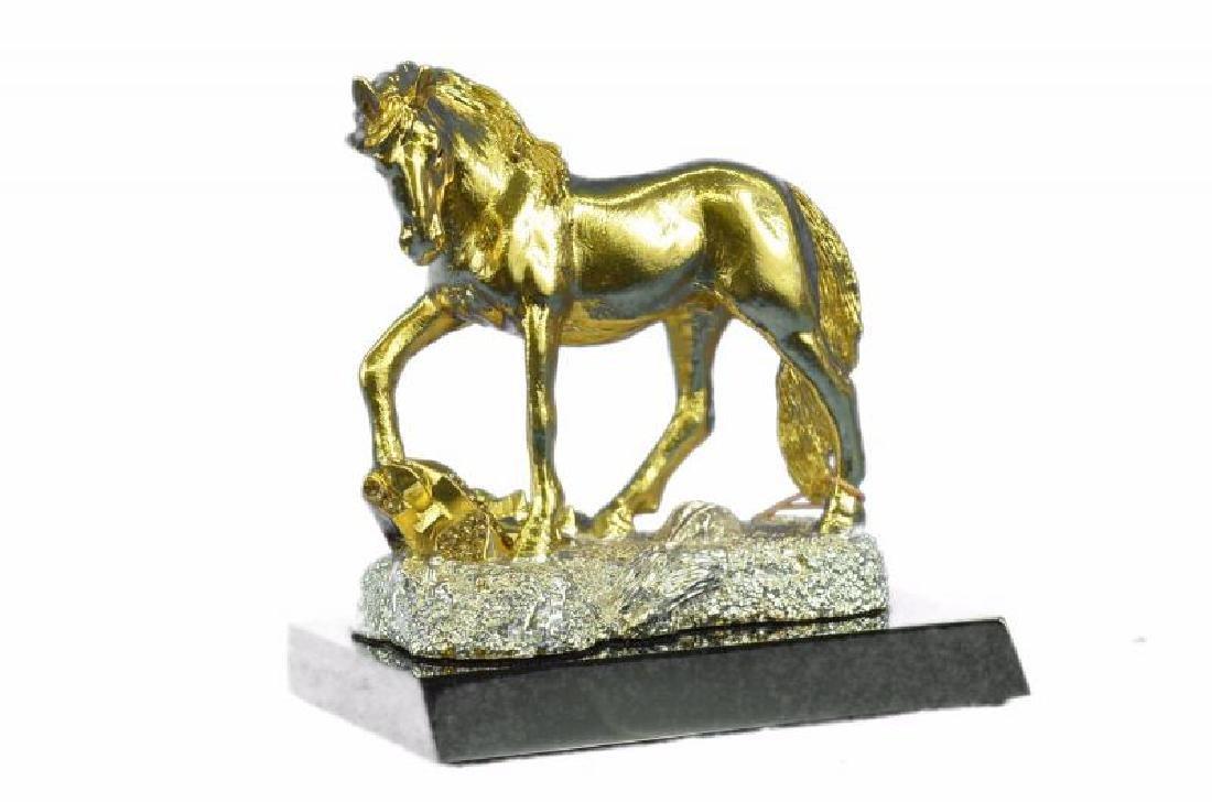 Art Deco Male Stallion 24K Gold plated Bronze Sculpture