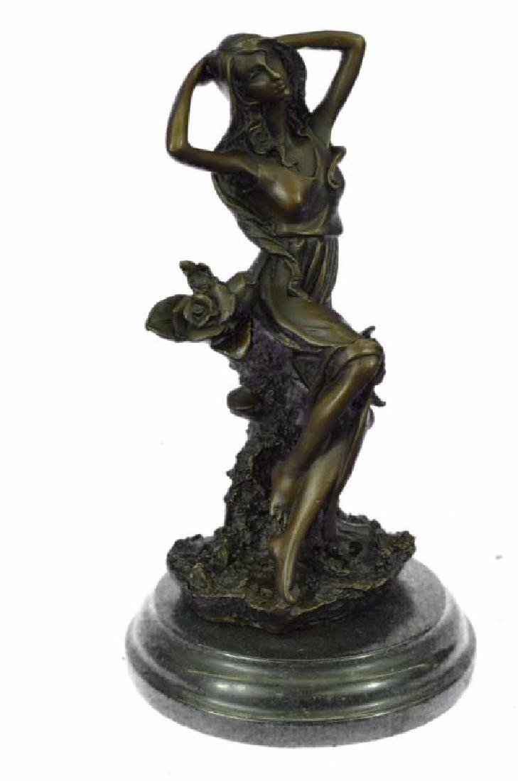 Handmade Bronze Statue Sculpture Sexy Lady Art Nouveau - 5