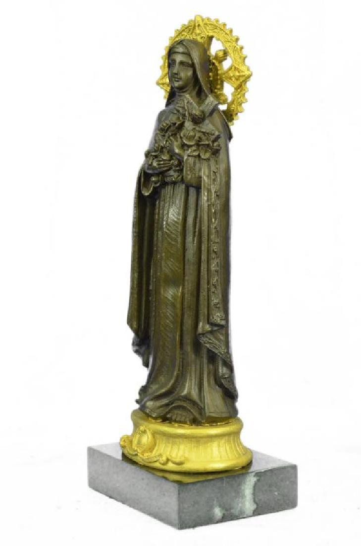 Bronze statue of the Virgin Mary Clutching a Cross Hot