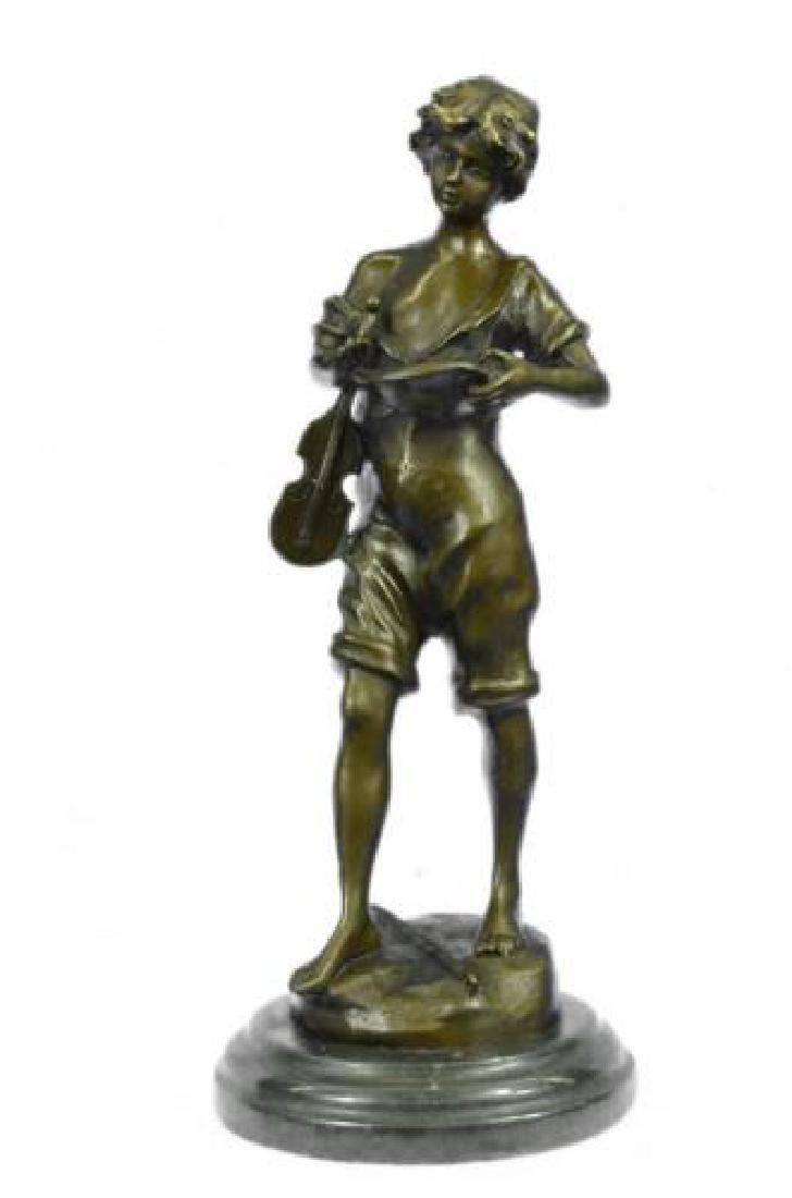 Boy play Violin Bronze Sculpture