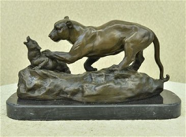 Jaguar attacks Cub Bronze Statue on Marble Base