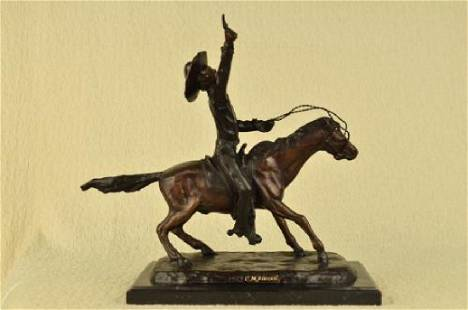 Pony Express Cowboy Bronze Sculpture