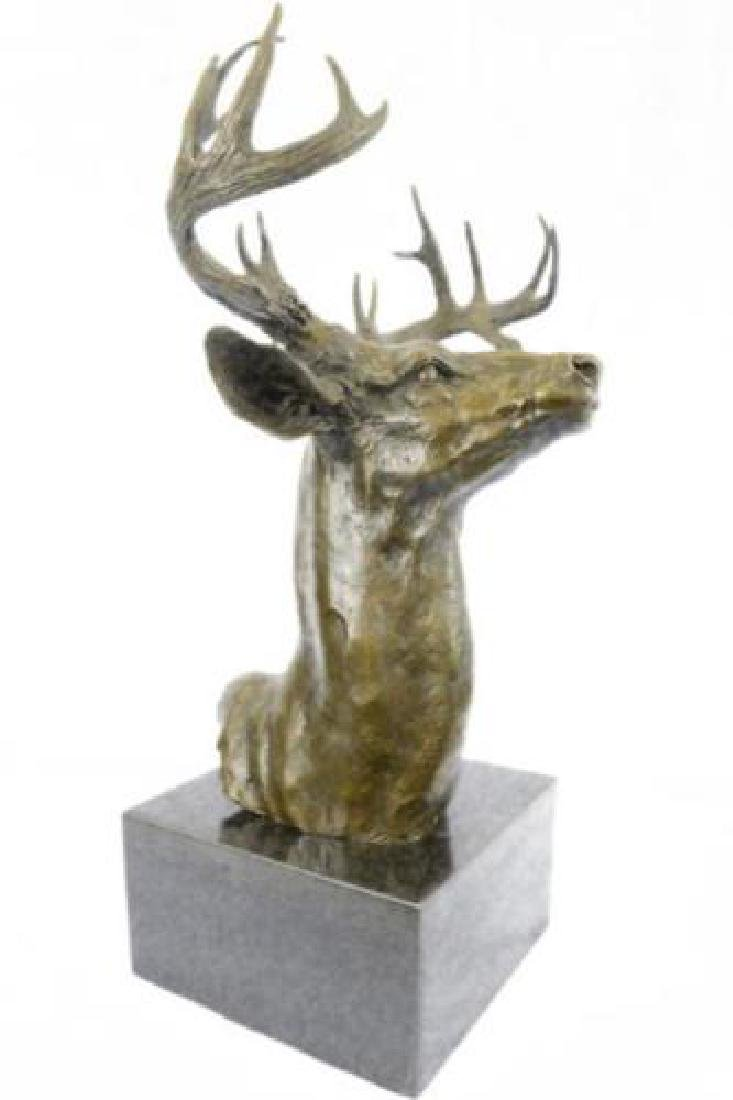 Bronze Marble Statue Elk Deer Stag Bust Lodge Decor