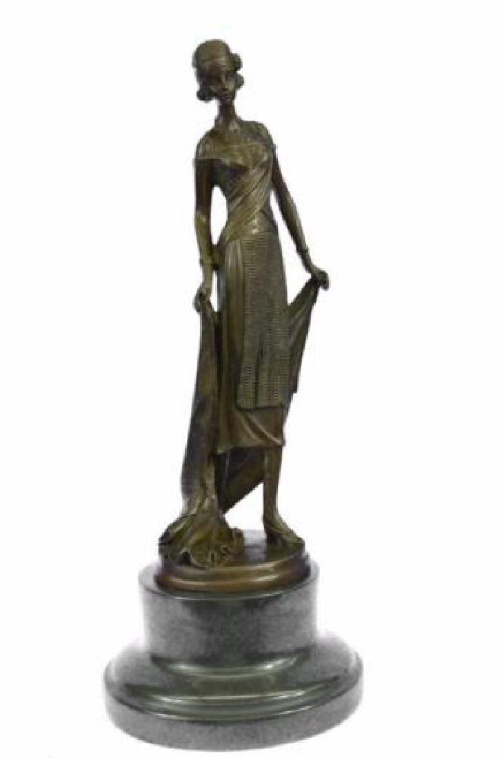 Young Flapper Art Deco Bronze Marble Statue Figurine