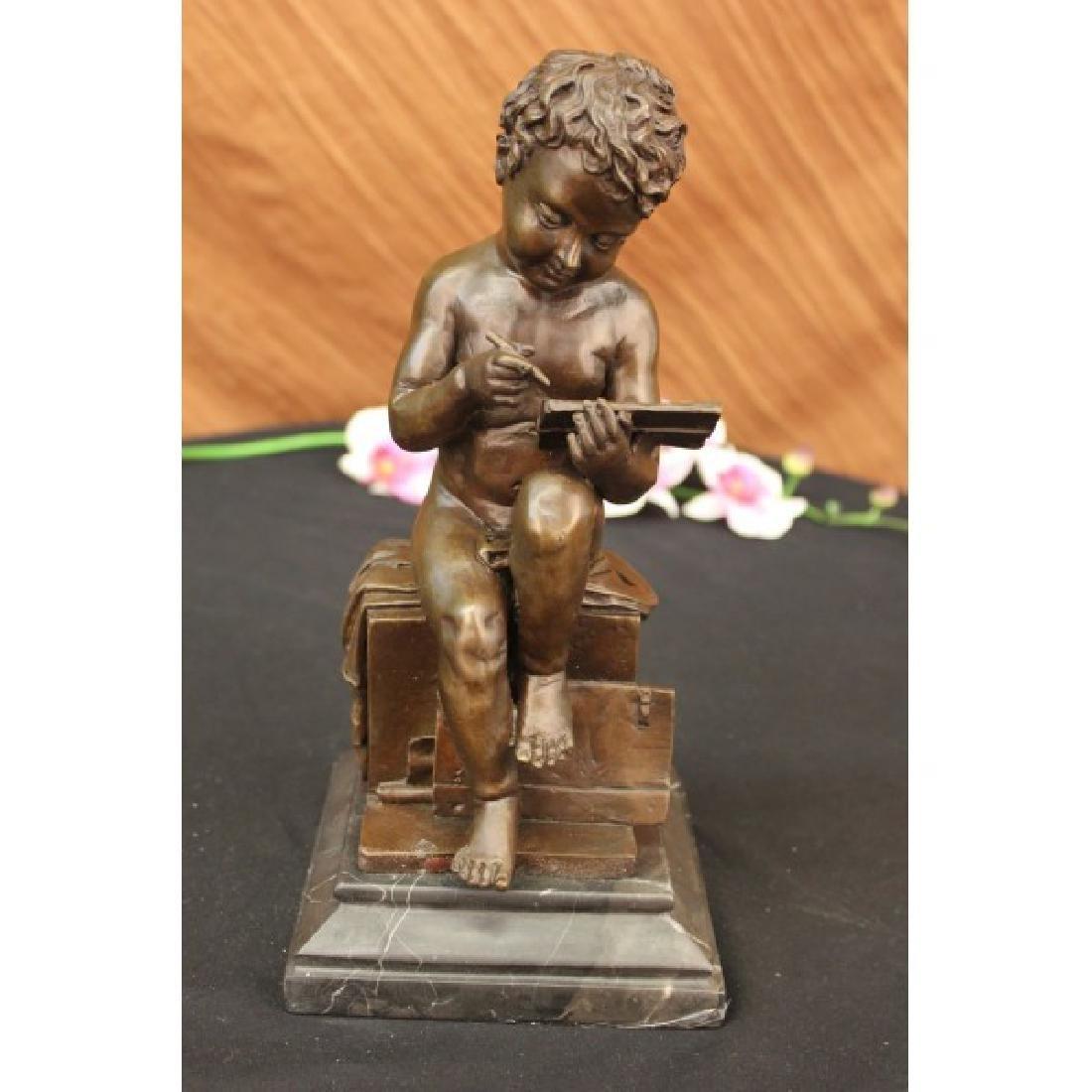 Art Taylor Cute Nude Boy acting Bronze Sculpture