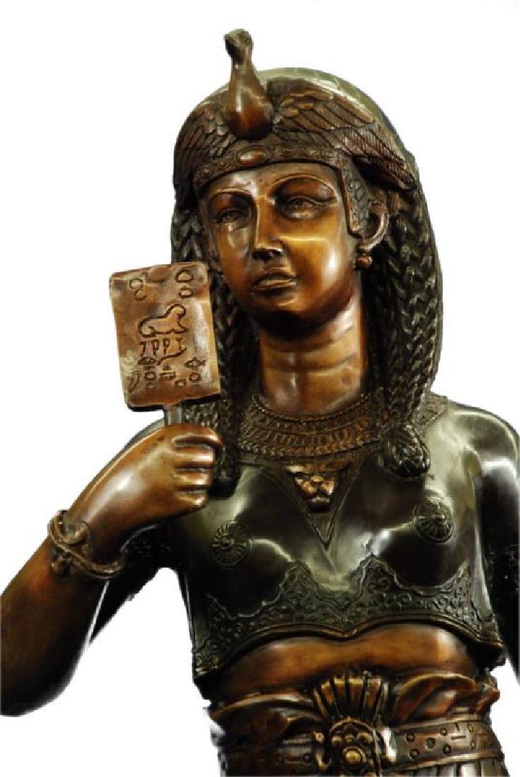 Egyptian King Tut Heavy Bronze Sculpture on Marble Base