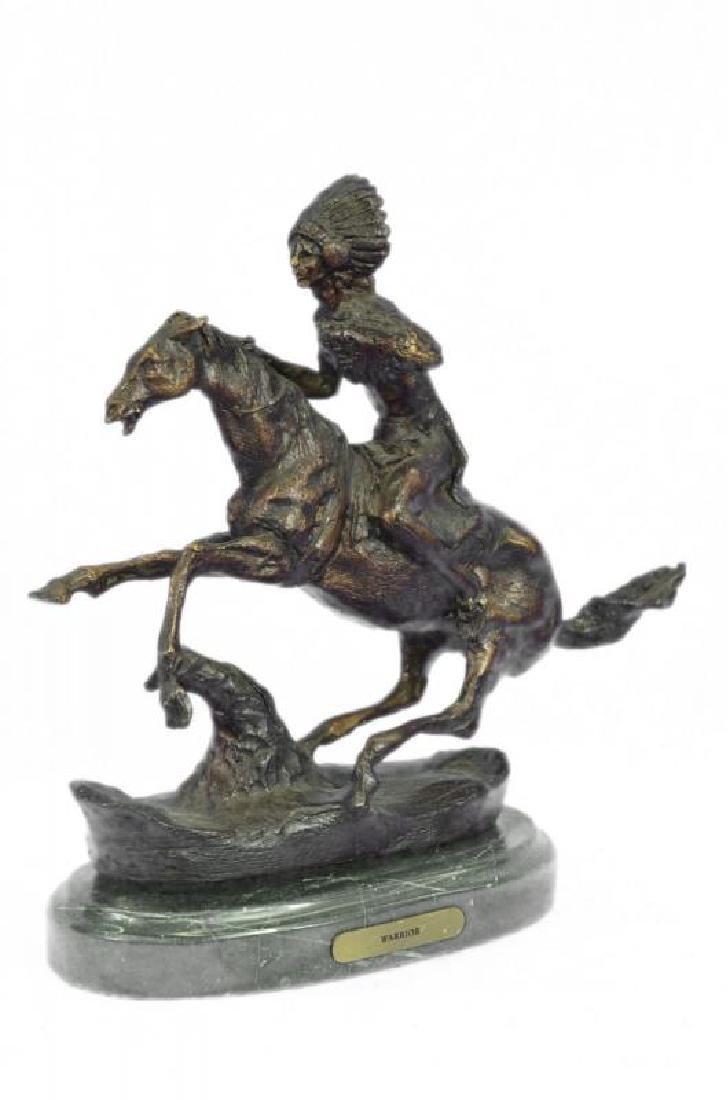 Warrior Bronze Sculpture on Marble Base Statue