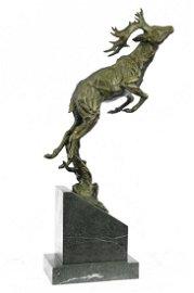 Wild Life Deer Stag Jumping Bronze Sculpture