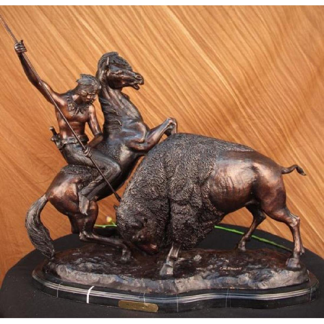Buffalo Hunt Collectible Solid Bronze Sculpture Statue