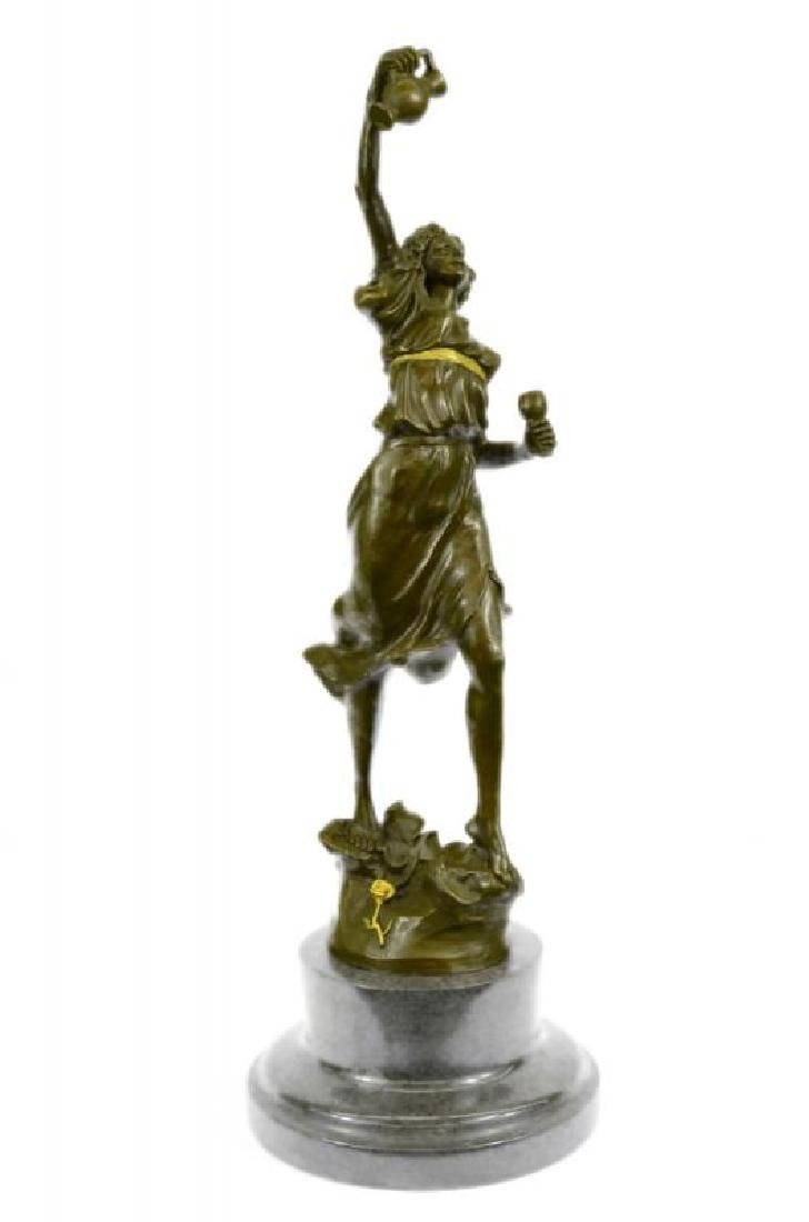 Genuine Bronze Metal Statue Marble Base Greek Lady Girl