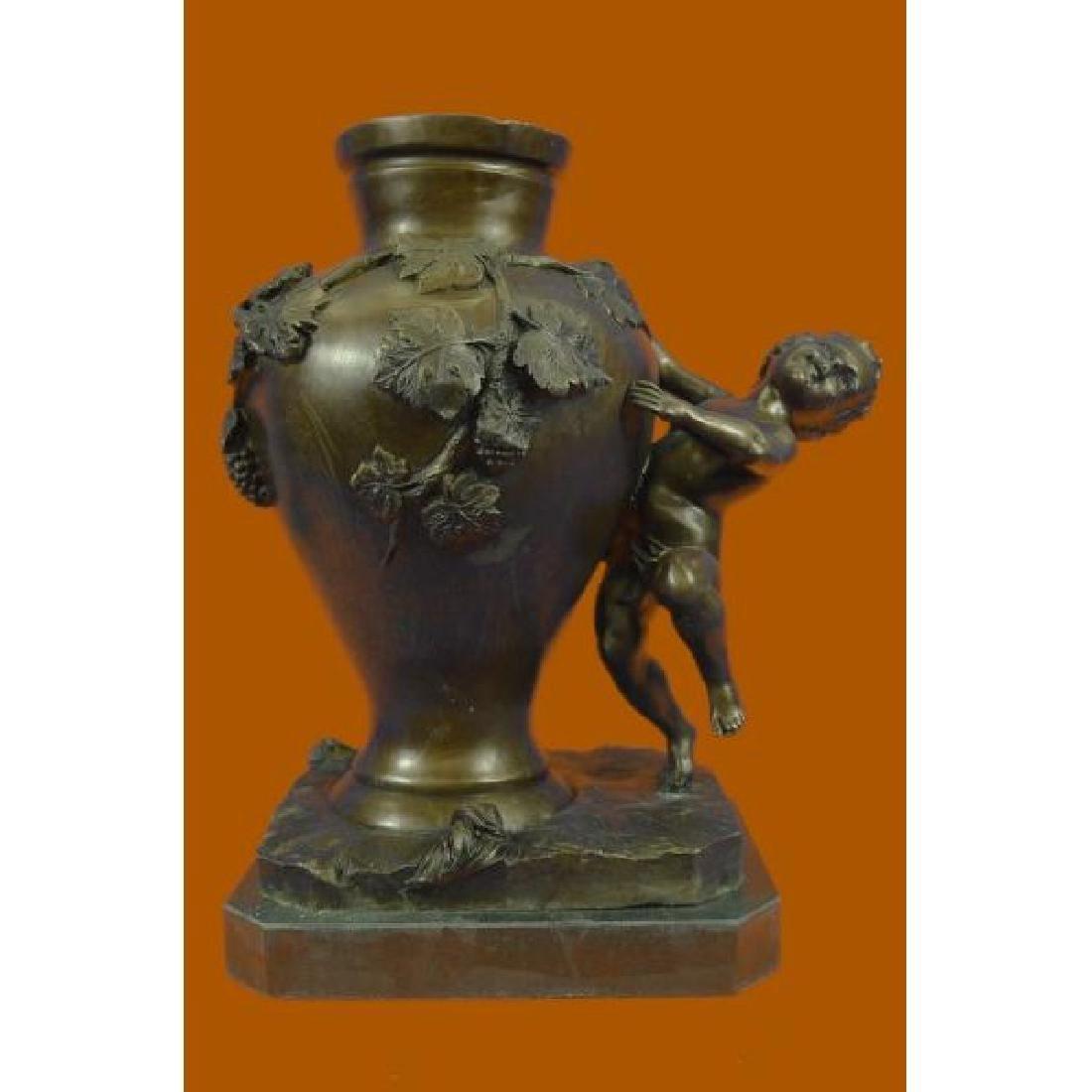 Cherub Vase Bronze Figurine