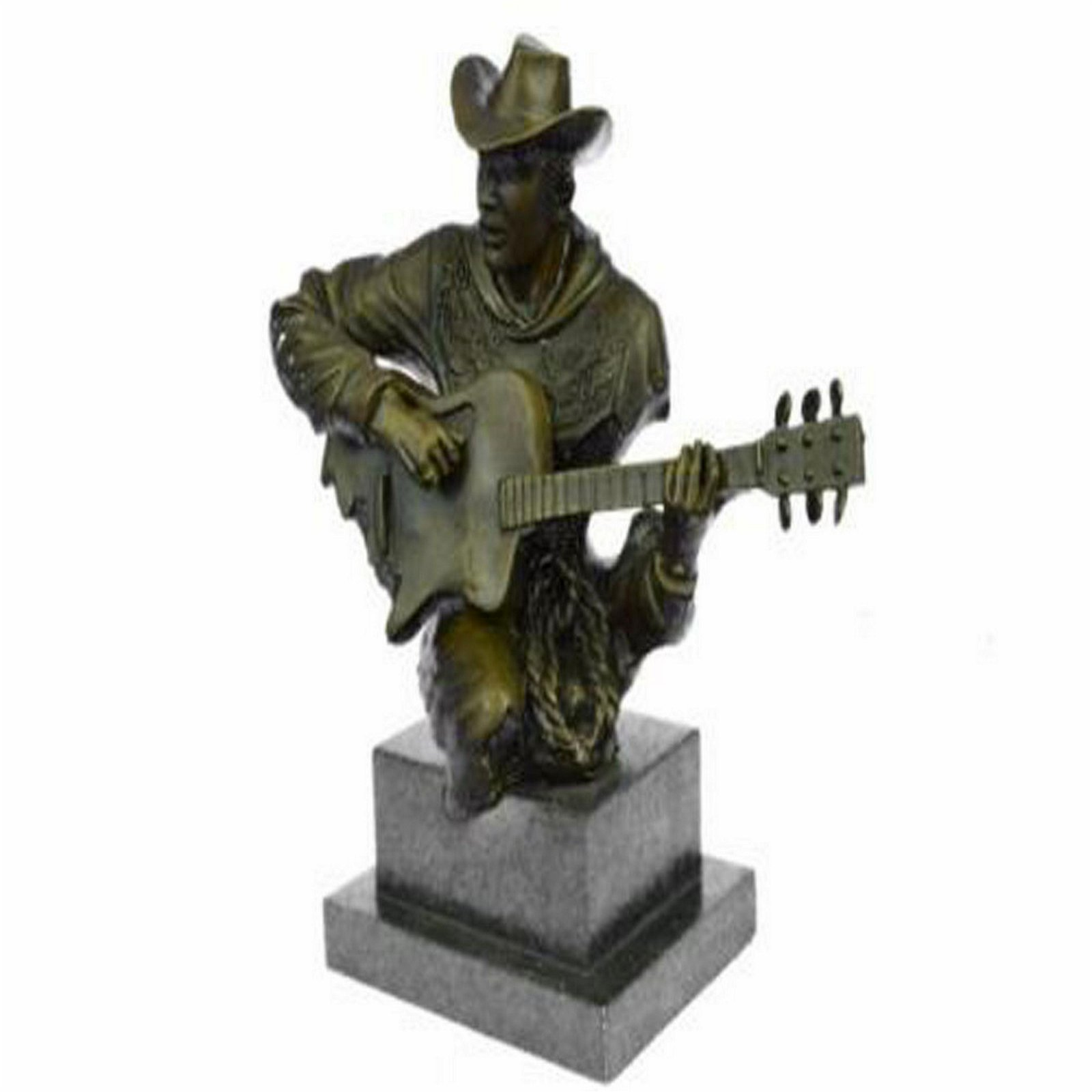 Guitar Player Bronze Figurine on Marble Base Statue