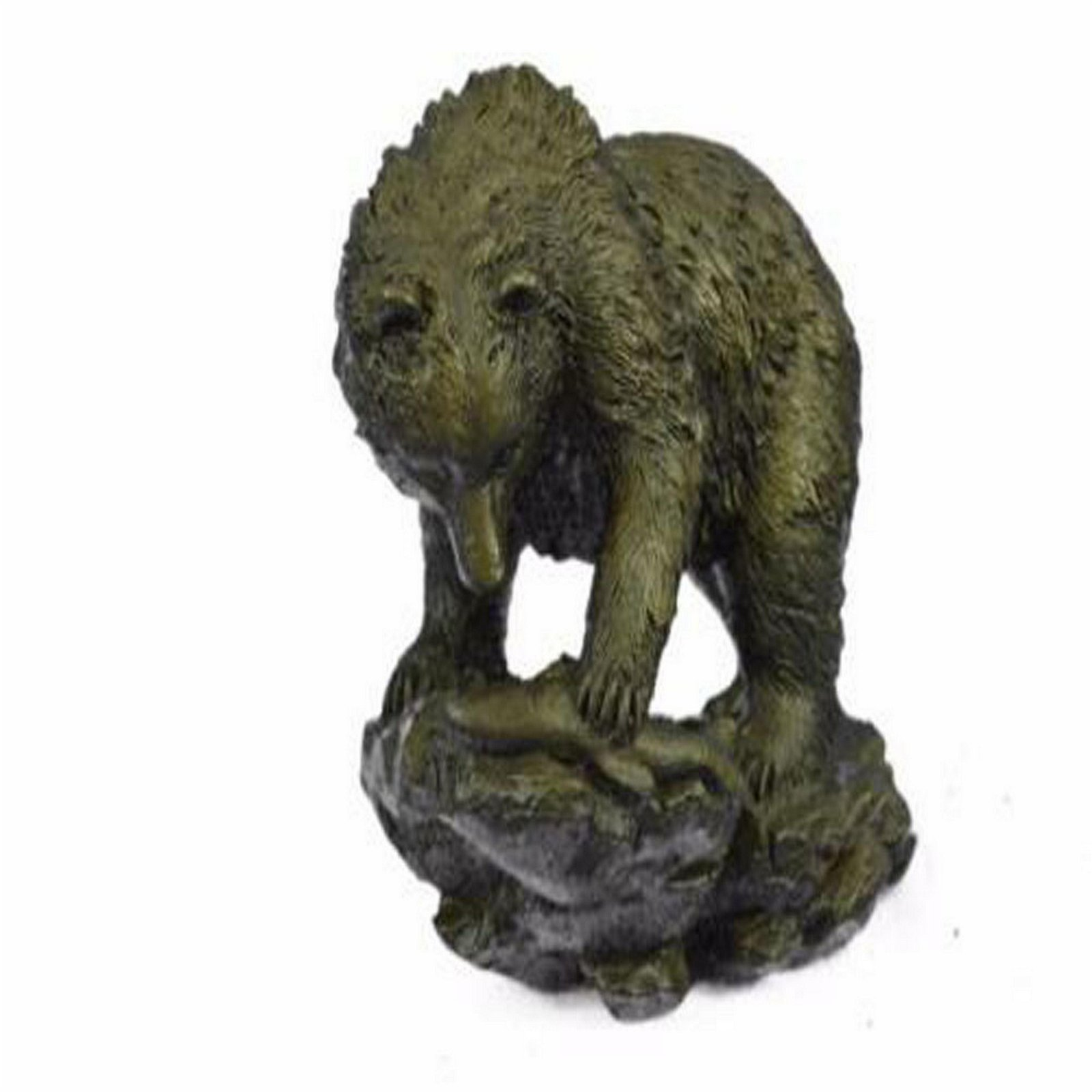 Burly Black Bear with His fish Dinner Bronze Sculpture