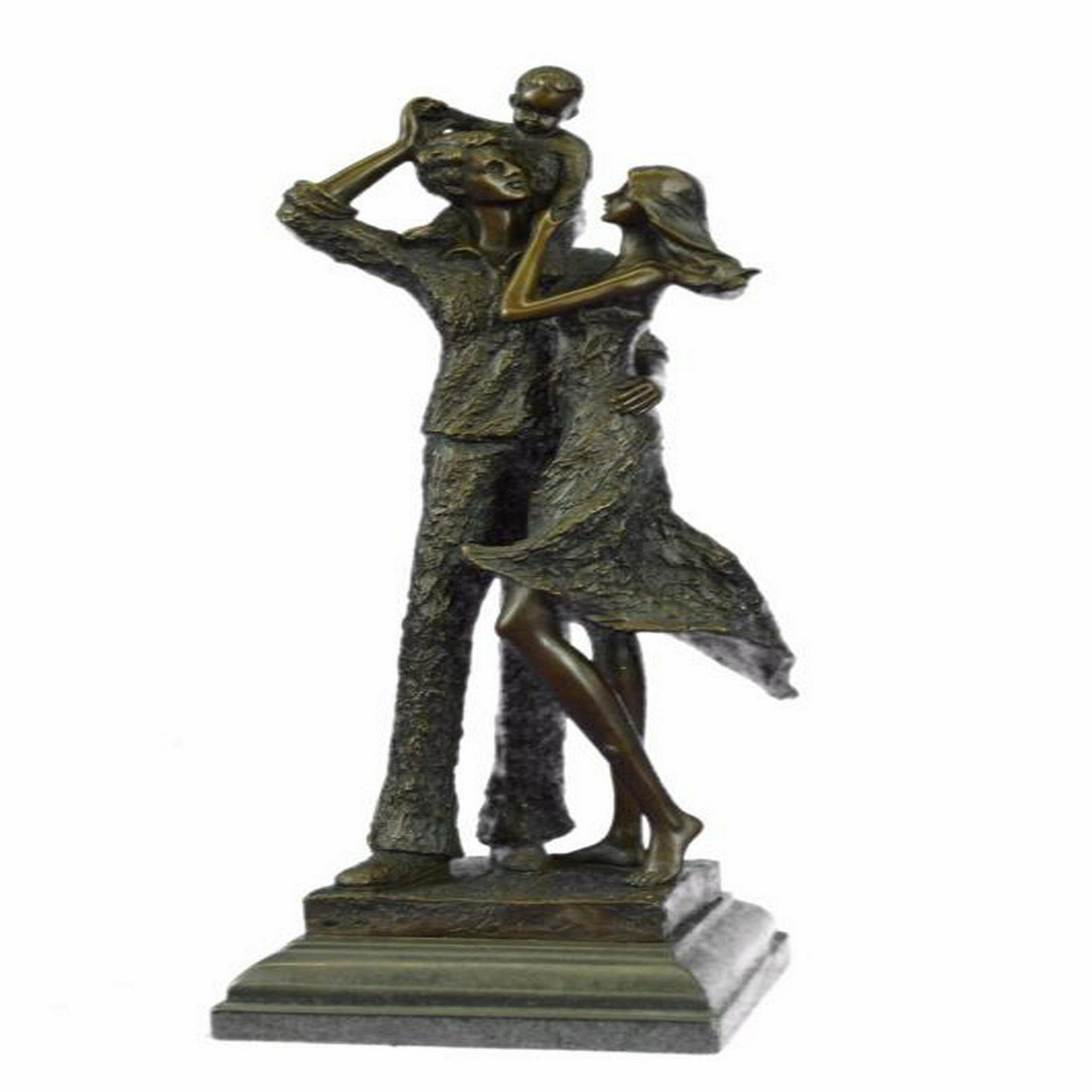 Happy Family Bronze Sculpture on Marble Base Statue