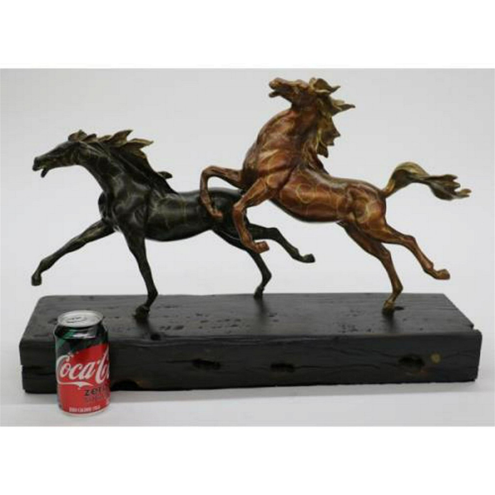 Two Racing Horses Stallion on Natural Wood Bronze
