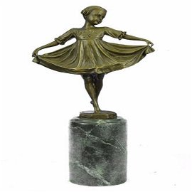 Young Girl Mid Dance Pose Bronze Figurine