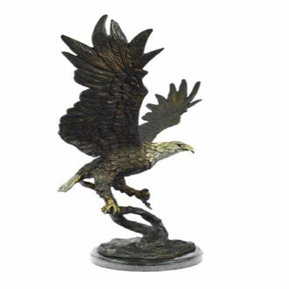 Stunning Eagle Genuine Hot Cast Bronze Statue on Marble