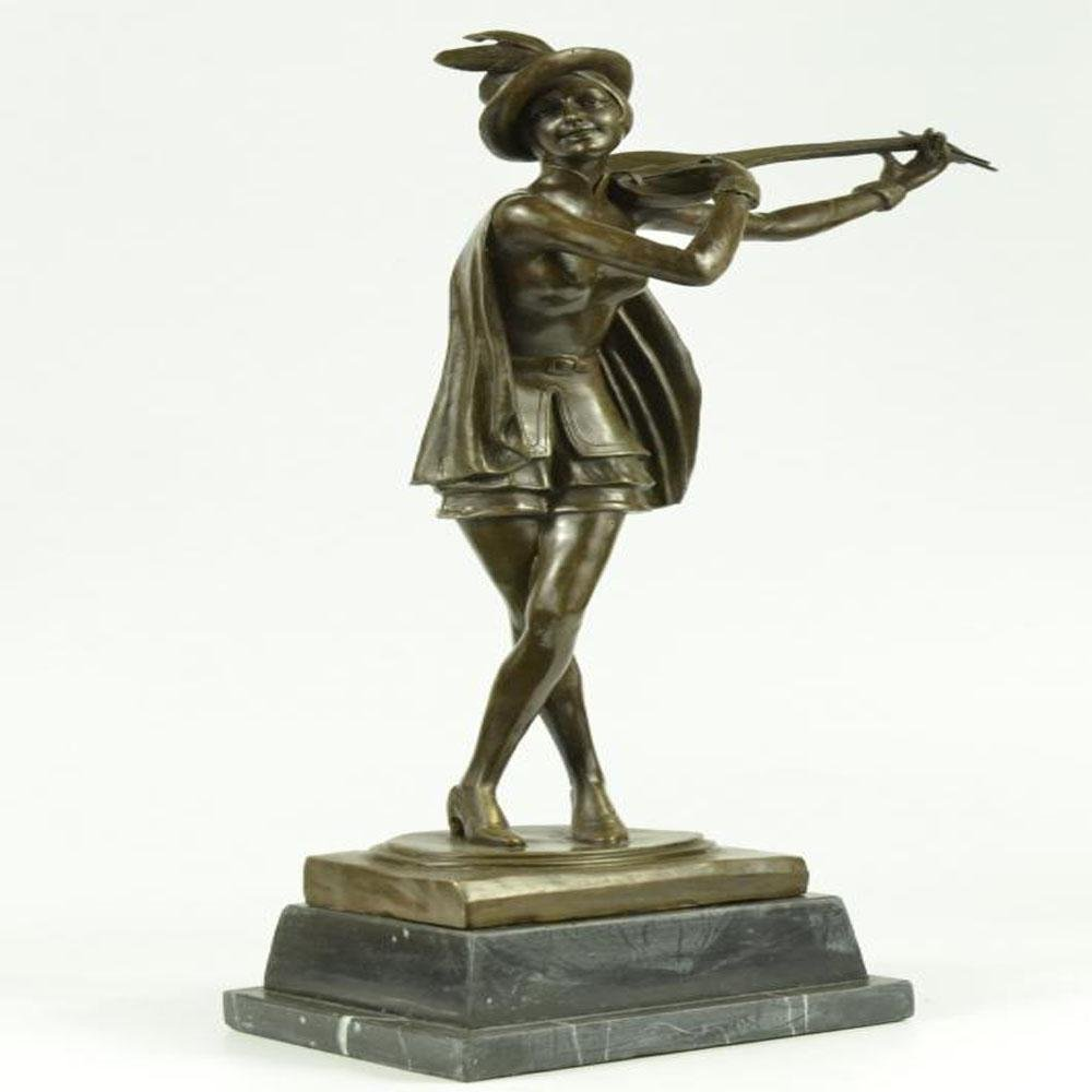 Dutch Female Banjo Player Bronze Sculpture
