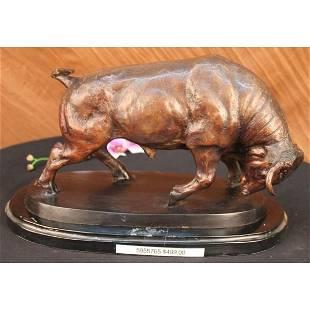 Stock Market Bull Bronze Sculpture