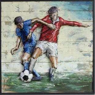 Soccer Football 3Dimensional Art Gallery Metal Wood