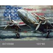 3D Wall Art Airplane Oil Painting Metal Art