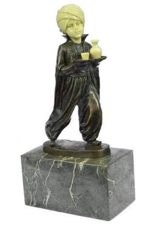 Amazing Little Indian Boy Server Bronze-Bone Sculpture