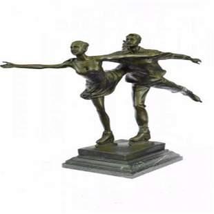 Ice Skating Bronze Sculpture