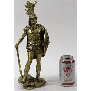 Greek Roman Soldier Cold Cast Bronze Sculpture