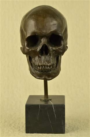 Skeleton Head Bust Halloween Bronze Sculpture