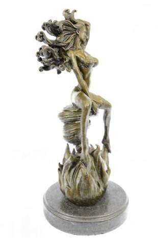 Woman Burst From Flame Bronze Sculpture