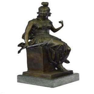 Female Greek Warrior Bronze Sculpture
